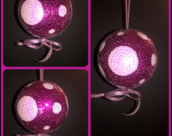 Sequin embellished styrofoam ball. To hang
