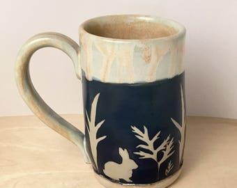 Bunny mug, coffee mug, large mug, handmade mug