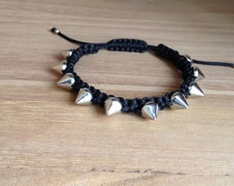 Punk rivet macrame friendship bracelet. ** *