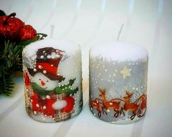 Unscented Christmas candles set, Candles set, Snowman candles, Christmas gift, Christmas candles decor Decoupage christmas candles