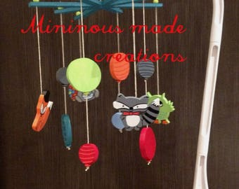 Wooden woodland theme baby mobile