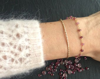 Gold plated chain and tourmaline Bangle Bracelet
