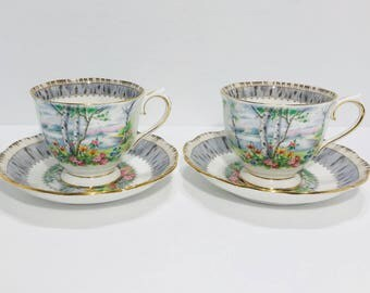 Royal Albert Silver Birch Tea Cup and Saucer Sets(2) Bone China England