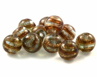Glass bead ♥X2 10mm♥ purple gold