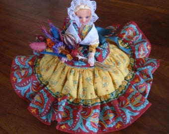 Doll Provencal pillow stuffed with wadding and lavender.