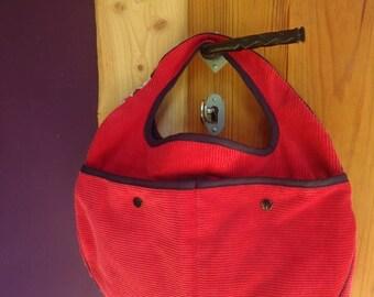 handmade velvet bag and cotton