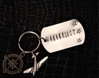 Wanderlust Hand Stamped Keychain