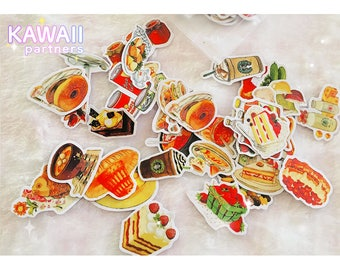 Kawaii Food Stickers | Cute Stickers | Planner Stickers | Stationery | Japanese |  35 pieces | KawaiiPartners