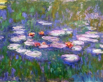 SET of TABLE semi-rigid ORIGINAL AESTHETIC WASHABLE and durable - Claude Monet - up water lilies.