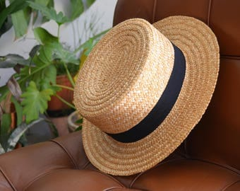 Vintage Black Straw Boater Hat