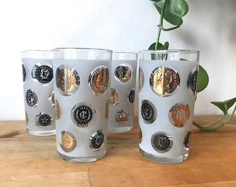 Vintage Libbey Old Coin Tumblers - Set of 4