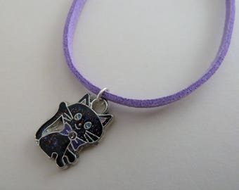 black cat and purple suede necklace