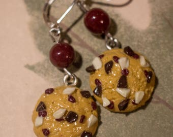 Earrings cookies and cranberry Fimo beads
