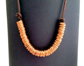 Copper rings and leather Choker