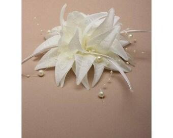 Ivory coloured fabric flower fascinator