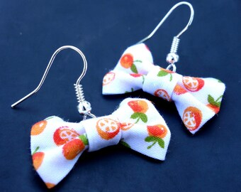 Fabric bow small Orange earrings