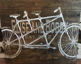 Tandem Bike Established Couple Wood Sign