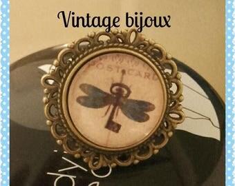 "bronze ring adjustable Dragonfly""hidden"""