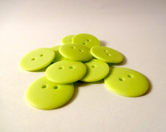 10 buttons in lime green matte acrylic - scrapbooking - embellishment - sewing
