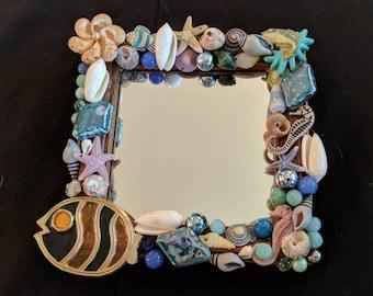 Seashell Jeweled Mirror, Decorative Wall Mirror, Ocean/Beach Decor Mirror