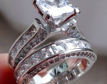 Regaalia Jewels 14k White Gold Over D(Clear) Princess Diamond Cut Engagement Wedding Ring Set All Size Available FREE SHIPPING
