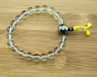 Lemon Quartz Crystal Wrist Mala Bracelet with Faceted Pyrite | 8mm | Yoga Jewelry | Meditation Bracelet | Buddhist Bracelet | Free Shipping