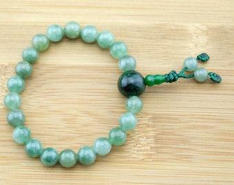 Green Jade Wrist Mala Bracelet (Jadeite) with Maw-Sit-Sit | 8mm | Yoga Jewelry | Buddhist Bracelet | Meditation | Free Shipping