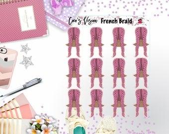French Braid 1/4 Stickers