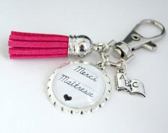 Thank you teacher bag charm key chain - hot pink