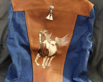 Hand Painted Horse Jean Leather Jacket