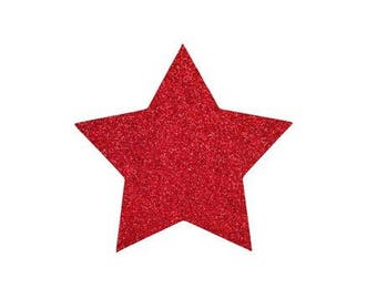5 X 4.8 cm red glittery star fusible pattern