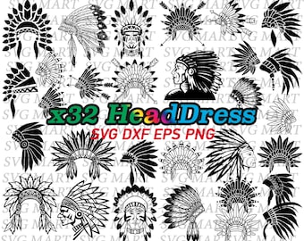 headdress svg, native american, indian headdress, aztec tribe, tribe chief, tribal chief, vector, silhouette, png, eps, dxf, clipart