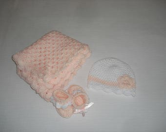 Pink baby blanket crocheted to order with pink and white hat