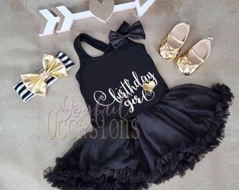 Black White and Gold Birthday Girl Tutu Dress - 2pc 1st 2nd 3rd Birthday Girl Tutu outfit With Matching Headband Ages 1-3