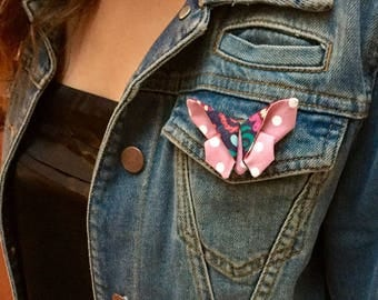 Fabric Butterfly brooch / fabric jewelry / fashion accessory