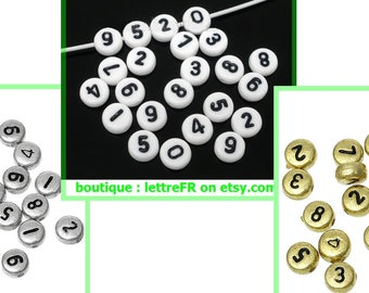 round Pearl digit number to choose 0-9 plastic 7 mm set of 2 digit number
