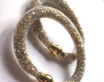 White and gold tubular Mesh Bracelet