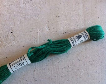 Skein of cotton plied to overcast old green 2909