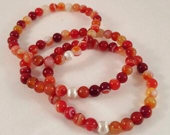 Beautiful filigree gemstone bracelet in orange agate and 925 silver bead