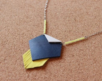 Necklace • GEOMETRIC color Navy blue / yellow / white