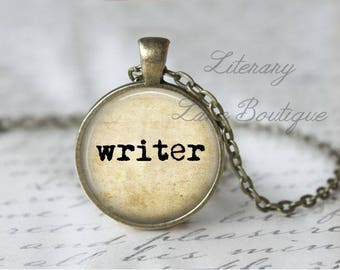 Writer, Typewriter Font Quote Necklace or Keyring, Keychain.