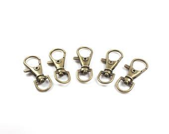 10 door - Key hook in Metal color Bronze Antique 35 x 13mm