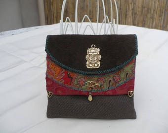 Small pouch in fabric and leather (pouch)