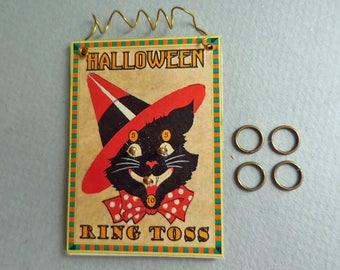 Dollhouse Miniature Halloween Black Cat Ring Toss Game 1:12