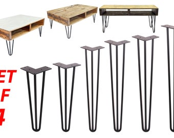 3 Rods Hairpin Legs (Matte Black) DIY Industrial Strength Mid Century Modern Table Legs, Set of 4