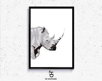 Tableau Rhinocéros /Tableau animalier / affiche rhinocéros / décoration intérieur / peinture animalière