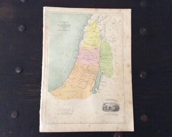 Antique 1860s Map Palestine / Canaan / Testament / Lithograph Print / Victorian / Israel / Bethlehem / Israel / Jewish