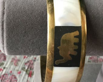 Vintage Elephant Faux Mother of Pearl Brass Bangle Cuff Bracelet