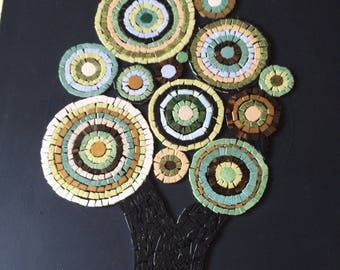Painting of a tree in mosaic on Black canvas