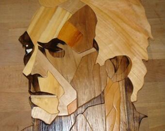 Portrait intarsia wood clint eastwood